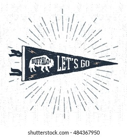 "Hand drawn adventure pennant flag vector illustration and ""Let's go"" inspirational lettering."