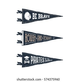 Hand drawn adventure pennant flags set. Vector illustrations and inspirational lettering.