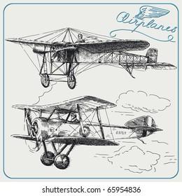 hand drawn airplanes