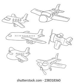 Hand drawn airplanes set. Cartoon vector illustration.