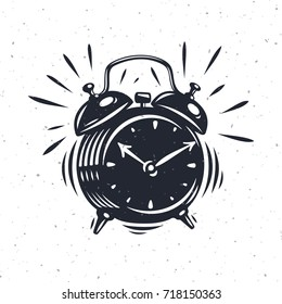 Hand drawn alarm clock isolated on white background. Vector old-fashioned illustration. Modern calligraphy style set.