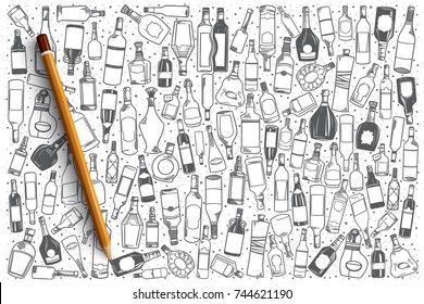Hand drawn alcohol vector doodle set background