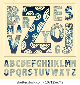hand drawn alphabet decorated with graphic doodles in blue ink