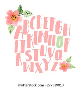 Hand drawn alphabet. Decorative letters set with watercolor flowers