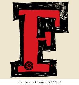 hand drawn alphabet, doodle F