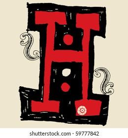 hand drawn alphabet, doodle H