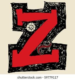 hand drawn alphabet, doodle Z