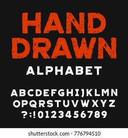 Hand drawn alphabet font. Distressed letters and numbers on a dark background. Stock vector typeface for your headers or any typography design.