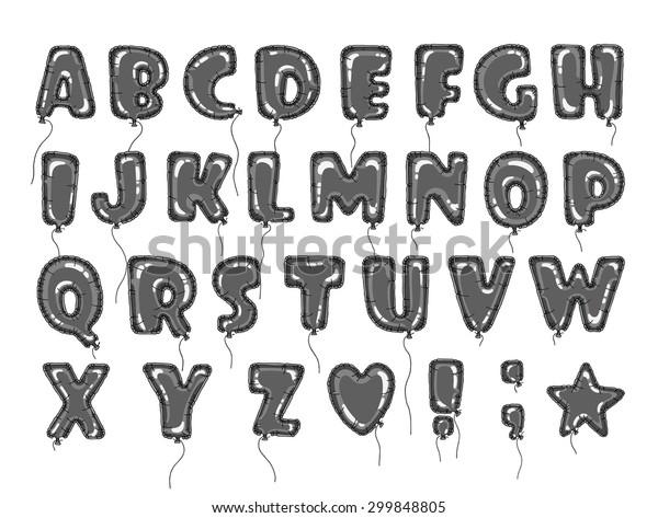 Hand Drawn Alphabet Form Balloon Easy Stock Vector Royalty