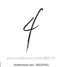 Hand drawn alphabet illustration & calligraphy - vector
