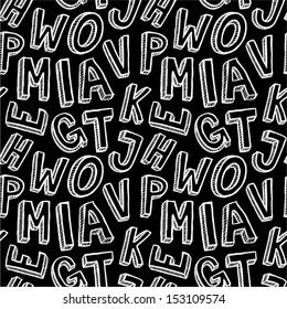 Hand drawn alphabet letters seamless pattern.