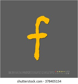 Hand drawn alphabet & number - vector