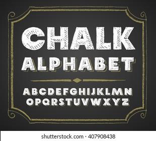 Hand drawn alphabet on chalkboard