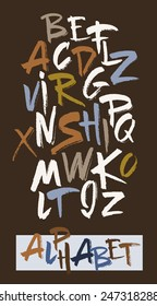 Hand drawn alphabet in retro style. ABC for your design. Letters of the alphabet written with a brush. Easy to use and edit letters. Dark background.