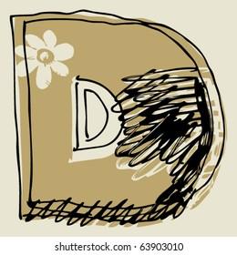 hand drawn alphabet, sketchy letter D