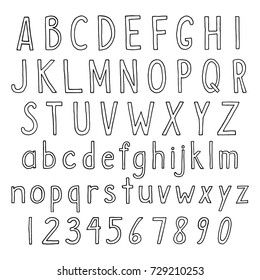 Hand drawn alphabet in thin linear style. Vector set of simple semi bold letters and numbers. Sans serif black handwritten font on isolated white background.