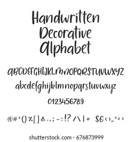 Hand drawn alphabet. Uppercase, lowercase letters and symbols. Handwritten font. Modern calligraphy. Hand lettering for your design: wedding calligraphy, logo, slogan, decor postcard greeting card