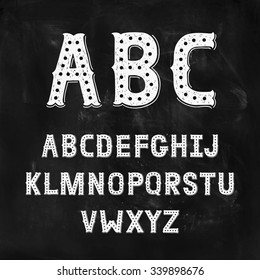Hand Drawn Alphabet with Vintage letters on black chalkboard. Decoration Font for accentuation, display type, Ink abc