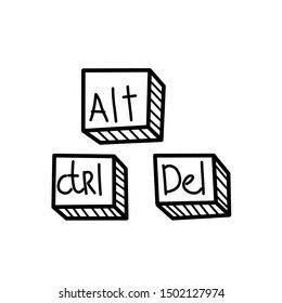 Hand drawn Alt, Ctrl, Del buttons isolated on a white. Sketch. Vector illustration.