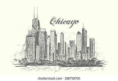 Hand drawn American city Chicago