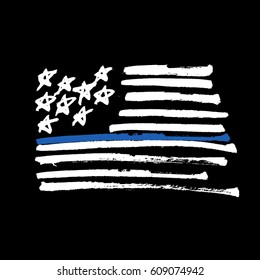 """Hand drawn American flag """"Thin blue line"""" monochrome Illustration. Painted by Brush. Isolated on black."""