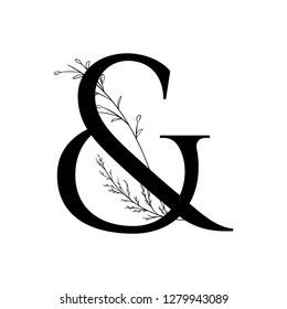 Hand drawn ampersand monogram or logo. Vector ampersand with floral and branch elements.