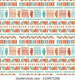 Hand Drawn Ancient Greek Birds Pattern, Seamless Vector Background, Greek Blue Orange Border Texture for Summer Fashion Prints, Boho Wallpaper, Trendy Stationery, Textiles & Cultural Poster Backdrop