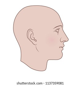 Hand drawn androgynous, gender-neutral human head in profile. Flat vector isolated on white background.