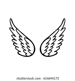 Hand drawn angel or bird wing. Monochrome drawing element  isolated on white background. Vector illustration.