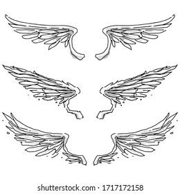 hand drawn of angel wings