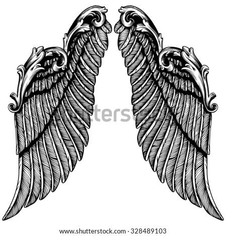 Hand Drawn Angel Wings Illustration Pair Vector De Stock Libre De