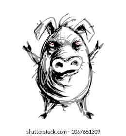 Hand drawn angry pig. Eps8. RGB Global colors