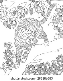 hand drawn animal coloring page