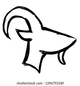 Hand Drawn of Animal Goat or Capricorn Zodiac sign for Graphic Design, Shirt, Background, Logo, Icon and Template. Vector Illustration.