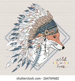 hand drawn animal illustration, fox warrior in war bonnet, native american poster, t-shirt design