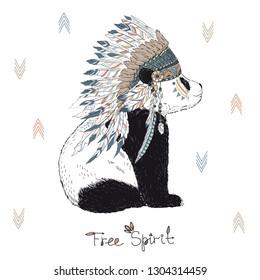 hand drawn animal illustration, panda cherokee wearing war bonnet, native american poster, tribal t-shirt print