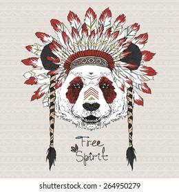 hand drawn animal illustration, panda cherokee in war bonnet, native american poster, tribal t-shirt print
