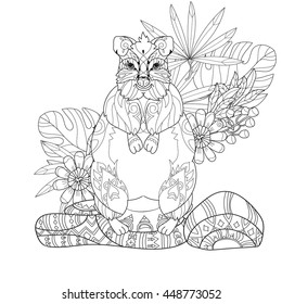 Page For Adult Coloring Book Hand Drawn Animal Kangaroo In Zen Art Style Vector Monochrome Sketch Doodle