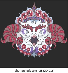 hand drawn animal portrait made in unique tribal style. Vector head of bird. Isolated icon for your design.