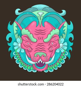 hand drawn animal portrait made in unique tribal style. Vector head of boar. Isolated icon for your design.