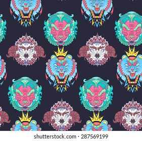 hand drawn animal portraits made in unique tribal style. Vector head of bear, bird, boar.  animal tribal seamless pattern for your design
