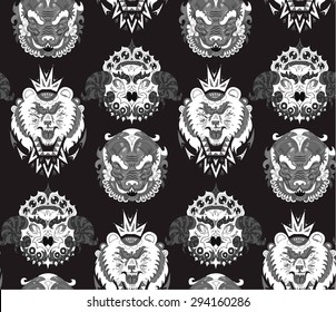 hand drawn animal portraits made in unique tribal style. black and white palette. Vector head of bear, bird, boar. animal tribal seamless pattern for your design.