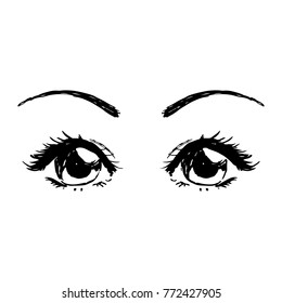Hand Drawn Anime Manga Style Woman Eyes Beautiful Vector Black on White Background