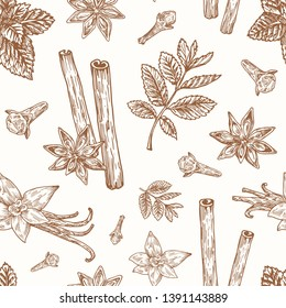 Hand Drawn Anise, Mint, Cinnamon, Clove and Vanilla Vector Seamless Background Pattern. Spices Sketches Card or Cover Template.