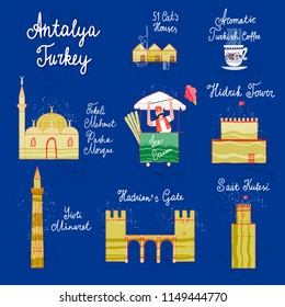 Hand drawn Antalya cartoon map. Postcard concept with the most interesting places for visit.