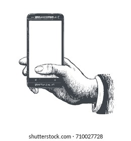 Hand drawn antique engraving style pen crosshatch hatching paper painting retro vintage vector lineart illustration of the modern smartphone. Hand holding a touch phone