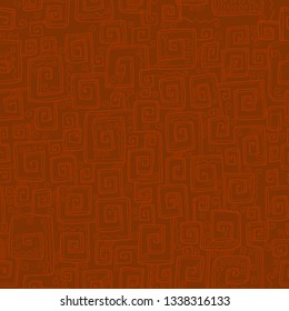 Hand drawn antique  meander seamless pattern.  Natural terracotta color vector repeatable background for wrapping paper, fabric, surface design.