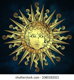 Hand drawn antique style sun with face of the greek and roman god Apollo over blue sky background. Flash tattoo or fabric print design vector illustration