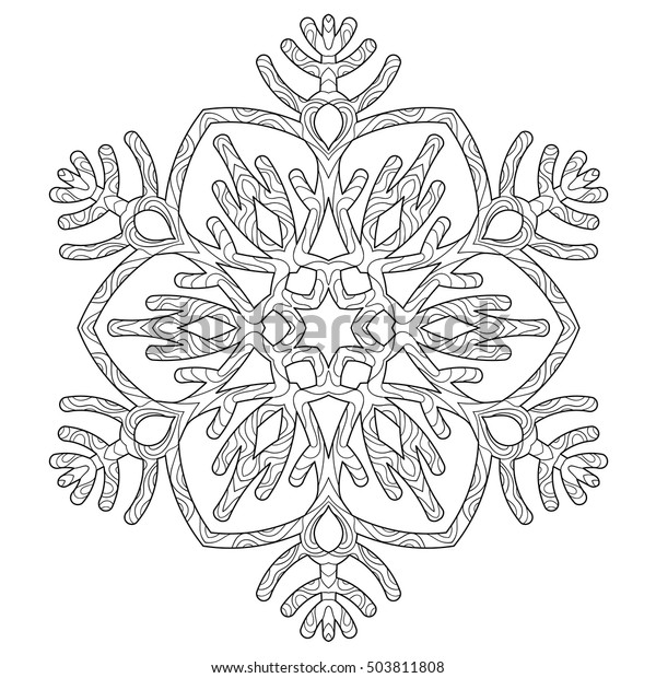 Hand Drawn Antistress Snowflake Tracery Template Stock Vector Royalty Free 503811808