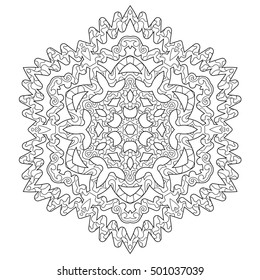 Hand drawn antistress snowflake. Zentangle template for cover, poster, t-shirt or tattoo. Winter coloring pages for adult art therapy. Vector illustration.